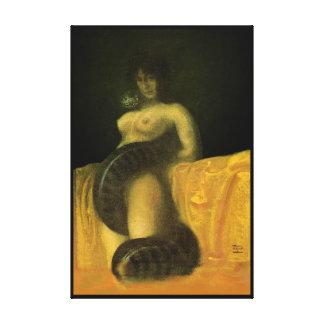 SnakeGrl sträckte (TJOCK) kanfasväggkonst 24x36, Canvastryck