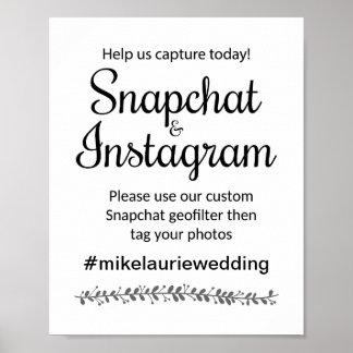 Snapchat Instagram Hashtag bröllop undertecknar - Poster