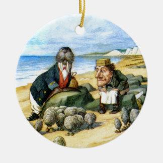 Snickaren och valrossen i underland julgransprydnad keramik