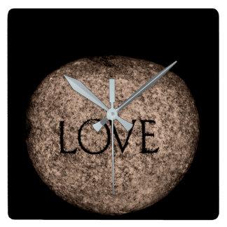"""Sniden sten """"för kärlek"""" fyrkantig klocka"""