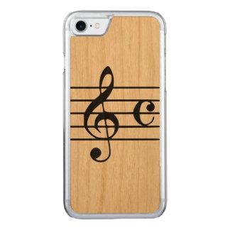 Snidit fodral för trä för Apple iPhone 7 - musikal