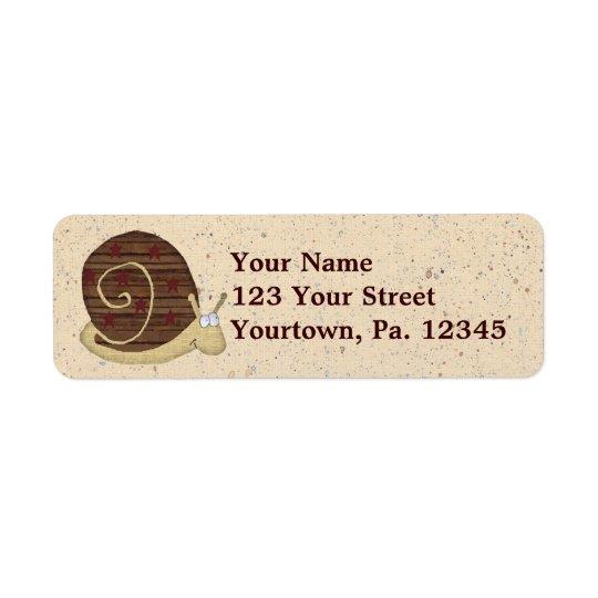 Snigeln postar adressetiketten returadress etikett