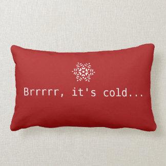 Snö Brrrrr är det rött & vit för kall vinter rött Lumbarkudde