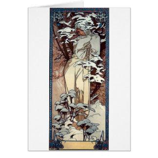 snö för kvinna för affisch för muchavinterart nouv hälsningskort