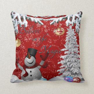Snö för röd vit för snögubbejulgran tro kudde