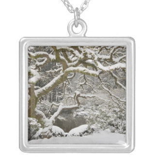 Snö-täckt japansk lönn 2 silverpläterat halsband