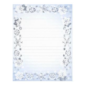 Snöflingor fodrat handstilpapper brevhuvud