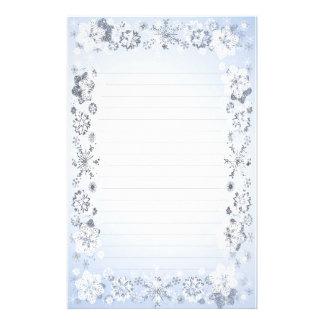Snöflingor fodrat handstilpapper brevpapper