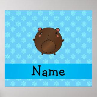 Snöflingor för blått för personlignamnbjörn