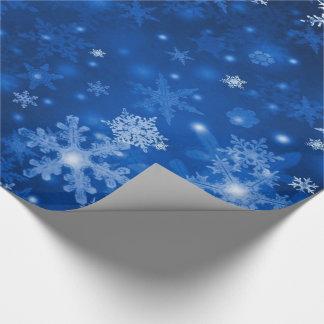 Snöflingor för för julgåvasjal/blått presentpapper