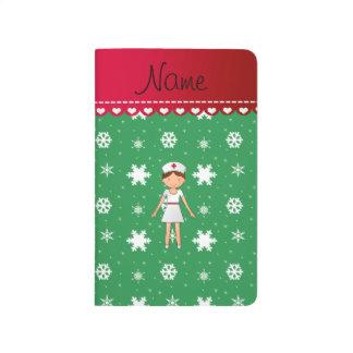 Snöflingor för jul för grönt för anteckningsbok
