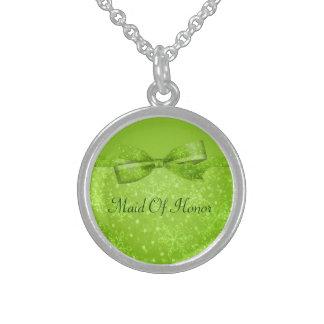 Snöflingor för limefruktgrönt- & glitterShimmer Sterling Silver Halsband