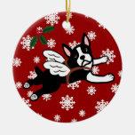 Snöflingor för tecknad för Boston Terrierängel Julgranskula
