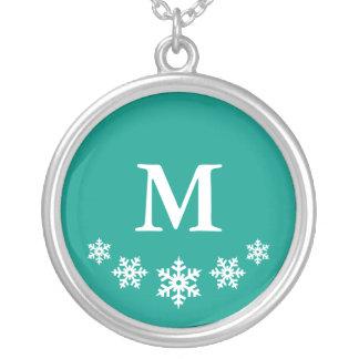 Snöflingor fryst krickaMonogram (beställnings- Silverpläterat Halsband