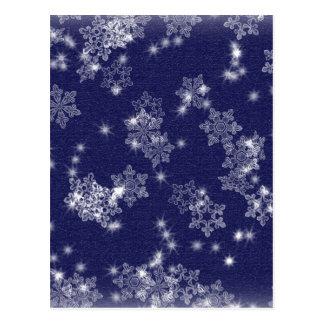 Snöflingor i natthimmlen vykort