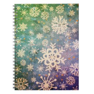 Snöflingor på blåttDenimTie-färg Anteckningsbok