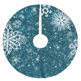 Snöflingor på glitterturkos ID454 Julgransmatta Borstad Polyester