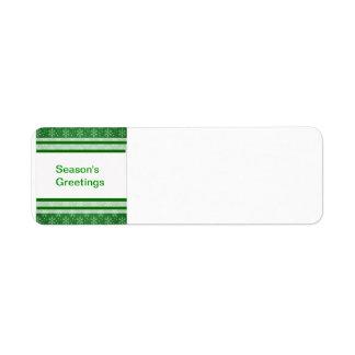 Snöflingor på grönt returadress etikett