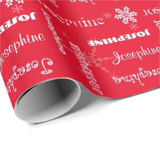 Snöflingor w/Name för vit för personlig för Presentpapper