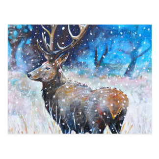 Snöfullvuxen hankronhjort vykort