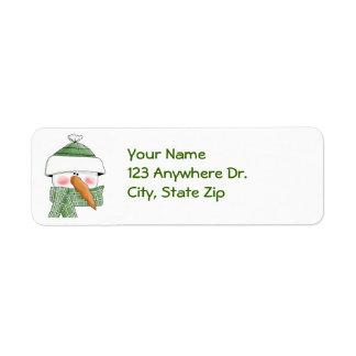 Snögubbe i grönt returadress etikett
