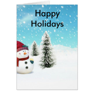 Snögubbe i snön hälsningskort