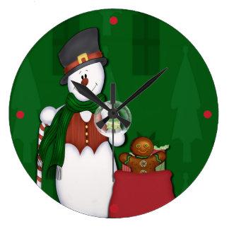 Snögubbe med en hänga lösfullt av presenter stor rund klocka