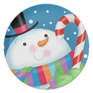 Snögubbe- och candy canemelaminen pläterar tallrik