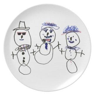 Snögubbe och familj tallrik