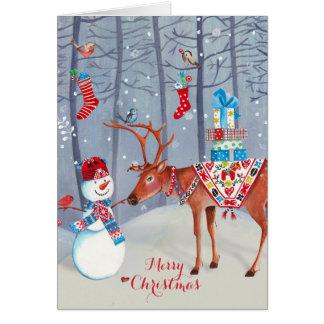 Snögubbe och för julhälsning för älg | kortet hälsningskort
