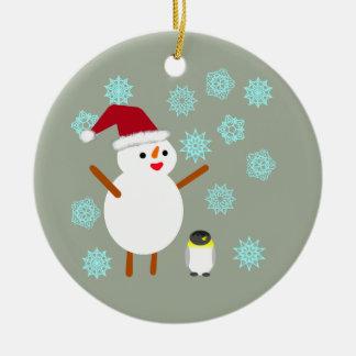 Snögubbe och pingvin julgransprydnad keramik