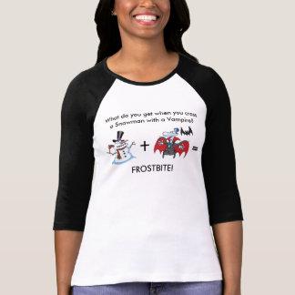 Snögubbe och vampyr med roligt ordstäv t shirts