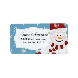 Snögubbeadressklistermärkear Adressetikett