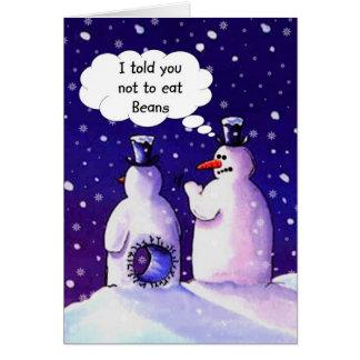 Snögubbear äter inte bönor hälsningskort
