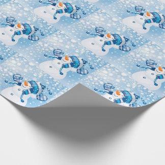 Snögubbear för för julgåvasjal/blått presentpapper