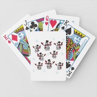 Snögubbear och snöflingor spel kort