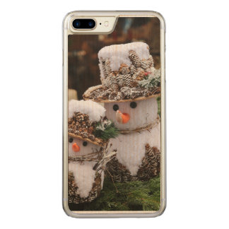 Snögubbear som ha på sig den Pinecone hatten Carved iPhone 7 Plus Skal