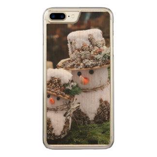 Snögubbear som ha på sig den Pinecone hatten Carved iPhone 7 Plus Skal