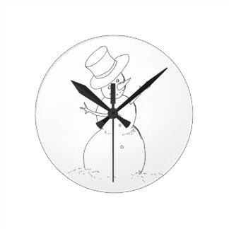 snögubben tar tid på rund klocka