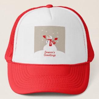 Snögubbesäsong hatt för jul för hälsningar truckerkeps