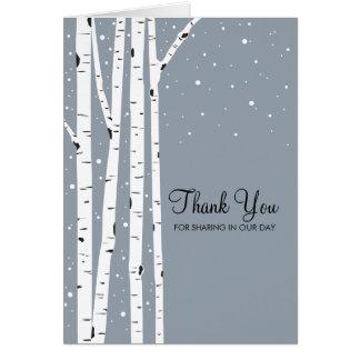 Snöig dagbjörkträd OBS kort