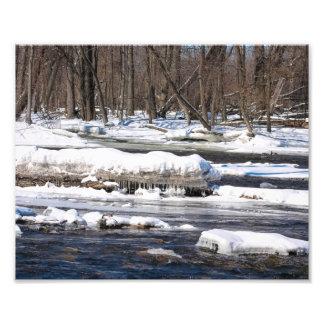 Snöig flod i Wisconsin Fototryck