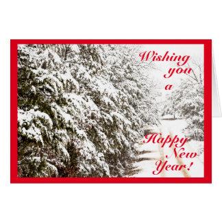 Snöig gott nytt århälsningkort hälsningskort