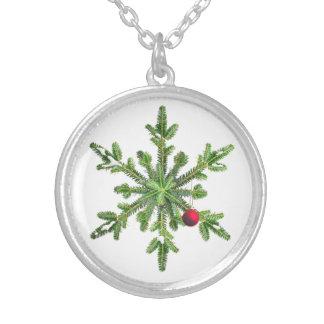 Snöig gräsSnowflakejul Silverpläterat Halsband