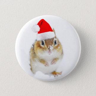 Snöig juljordekorre standard knapp rund 5.7 cm