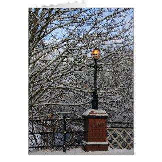 Snöig lampkort hälsningskort