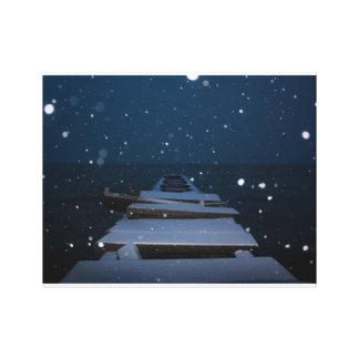 snöig pir på skymningen canvastryck