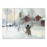 Snöig plats Carl Larsson för beställnings- julkort Hälsningskort