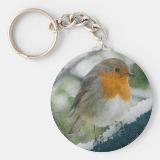 Snöig Robin Keychain Rund Nyckelring