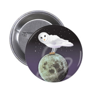 Snöig uggla i månsken standard knapp rund 5.7 cm